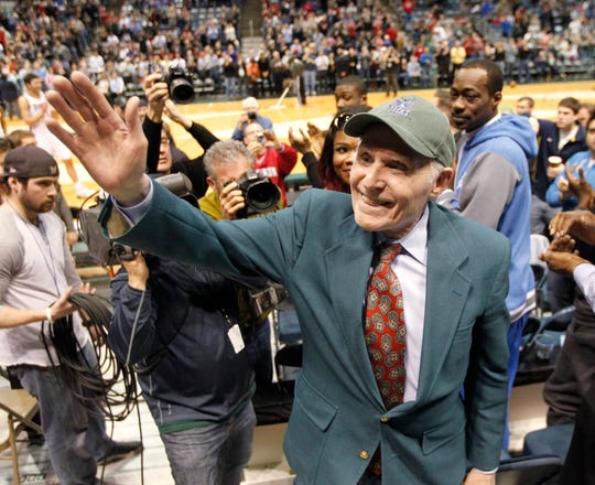 Milwaukee Bucks owner Herb Kohl acknowledges the applause of fans during the first half of their game against the Atlanta hawks Wednesday, April 16, 2014 at the BMO Harris Bradley Center in Milwaukee, Wis.  Kohl sold the team after the season.