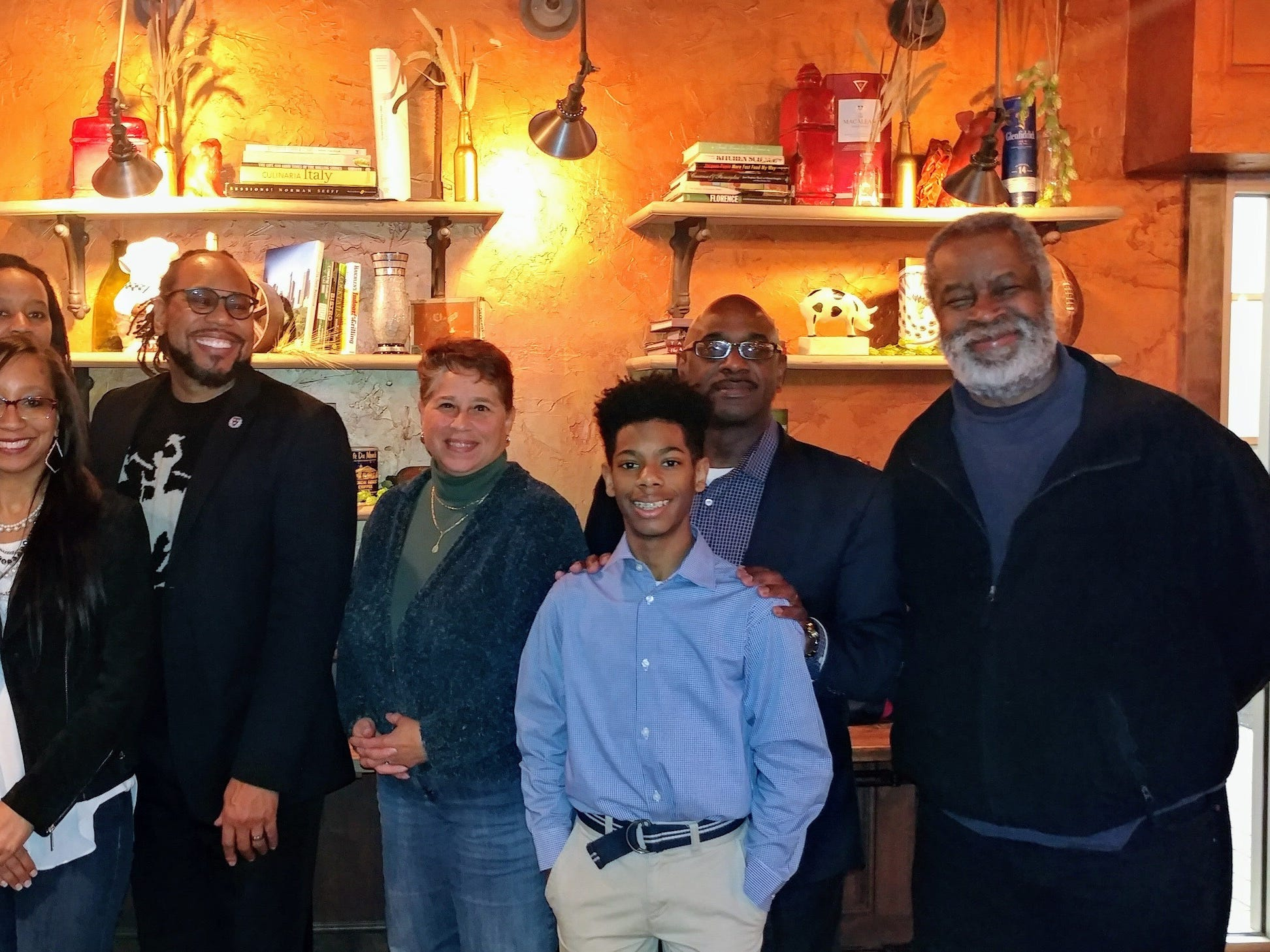 2018: Members of a scholarship committee honoring former reporter Felicia Thomas-Lynn at a planning meeting. Thomas-Lynn died of cancer. Greg Stanford helped to judge entries. Also pictured (left to right) Damia Causey, Kawanza Newson, Joanne Williams, Nathan Lynn II, and Nathaniel Lynn.
