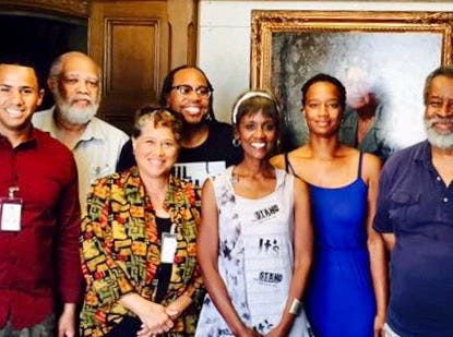 2017: Even in retirement, Greg Stanford remained active in journalism. When the Wisconsin Black Media Association went inactive, he worked to get it started again. Greg (far right) at a reactivation meeting. Other journalists pictured in the photo (left to right) Josh Landon, Everett Marshburn, Joanne Williams, James E. Causey, Dorothy Tucker, and Damia Causey.