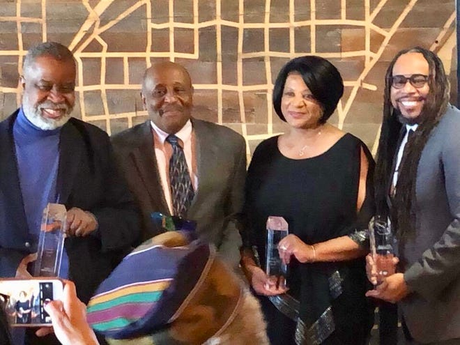"""2018: Greg Stanford received the Legacy Award as a founding member of the Wisconsin Black Media Association at theorganization's3rdannual """"Honoring Our Own Awards"""" luncheon on April 29.  Also honored were (left to right):Clayborn Benson III, with the Eric Von Community Award; Elise Grant, withthe Media Professional Award; and James E. Causey was named Journalist of the Year."""