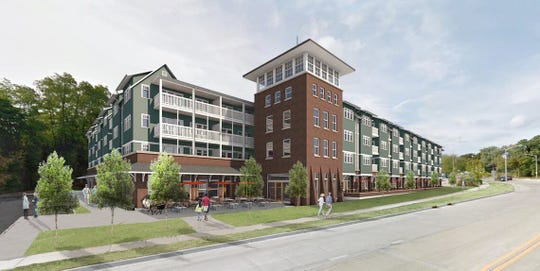 This preliminary rendering shows what a senior-oriented apartment complex on Delafield Street could look like. The concept-only plan can now advance to the next stage, as a two-firm development group formally begins creating a proposal for the land across from Waukesha City Hall.