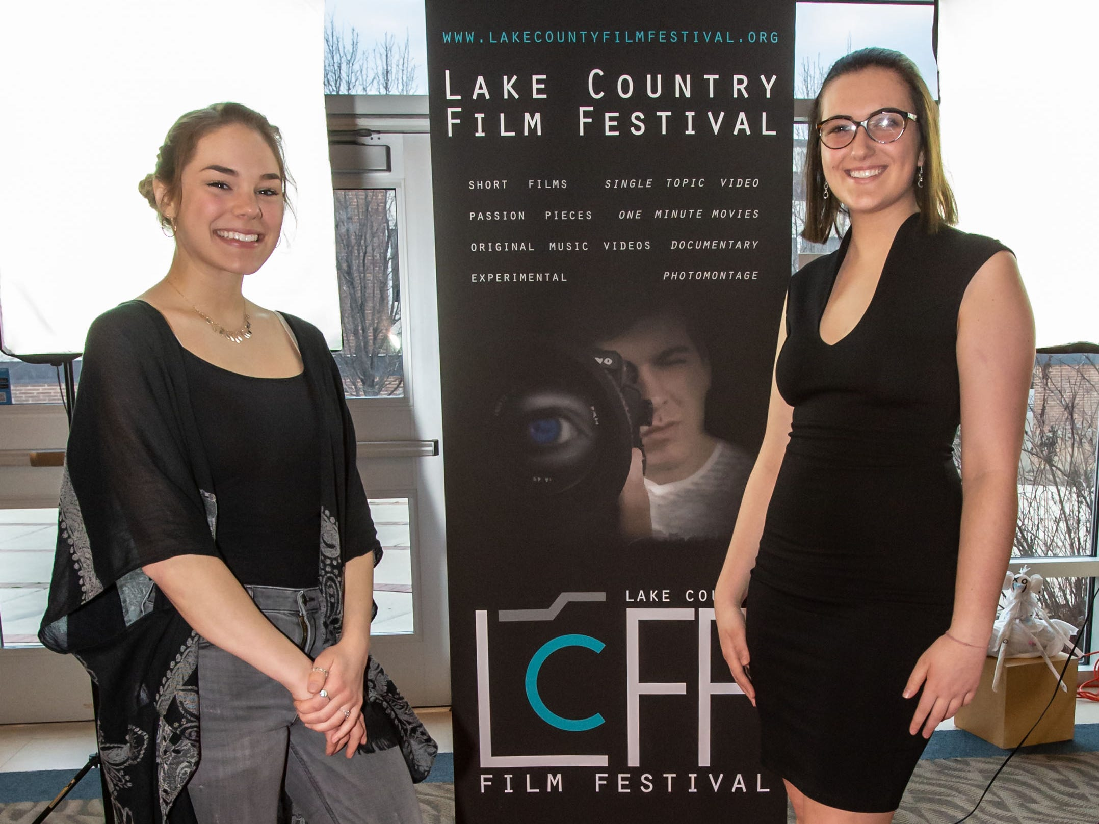 Filmmaker Lindsay Kramer (right) of West Bend and her friend Gab Zuern pause for a photo on the red carpet during the 4th Annual Lake Country Film Festival at the Oconomowoc Arts Center on Friday, April 5, 2019. The annual festival is open to students in the Lake Country Area and aims to encourage future filmmakers to create work that inspires audiences through the power of visual artistry, sound design, and storytelling.