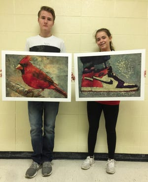 Norfork art students Cole Light (left) and Kylie Manes captured top honors at the recent Youth Arkansas Artists competition in Little Rock.