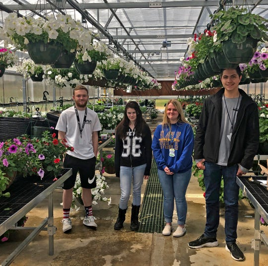 MHHS sophomores Gabe Todd, Celine Hall, and Abigayle Vida and junior Gunner Chong prepare for the upcoming plant sale in the new high school greenhouse. The plant sale opens to the public on April 9.