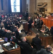 Gov. John Bel Edwards opens the Legislative Session with remarks to lawmakers in the House Monday.