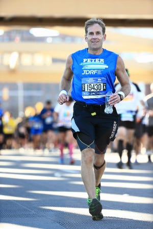 Peter Hill of Oradell will run the Boston Marathon for the sixth time with a goal of raising $50,000 for the New England chapter of the Juvenile Diabetes Research Foundation.