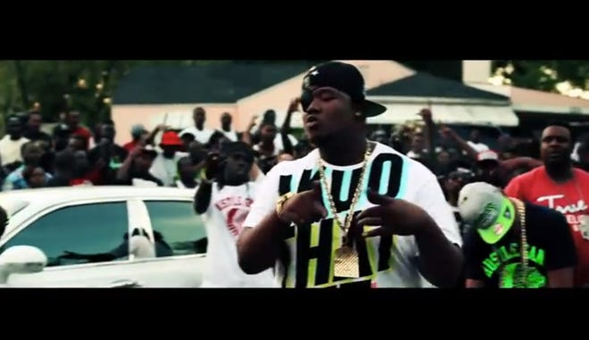 """Glenn Thomas, also known as rapper Doe B, on the set of the music video for """"Let Me Find Out."""""""