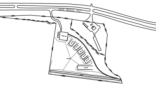 This rendering shows a proposed plan for a Bullseye Gun, Gear and Pawn business with a potential outdoor shooting range on the south side of John Bragg Highway on the east side of Rutherford County.