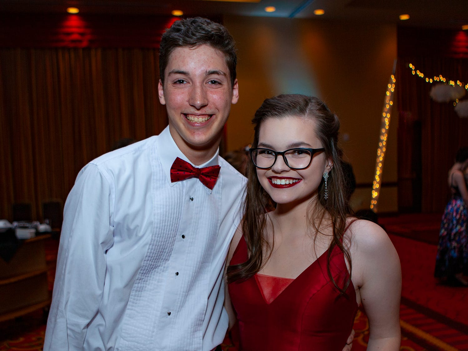 Nico Orantes and Leah Zachary paused for a photo at Central Magnet School's prom Saturday, April 6 at Embassy Suites in Murfreesboro.
