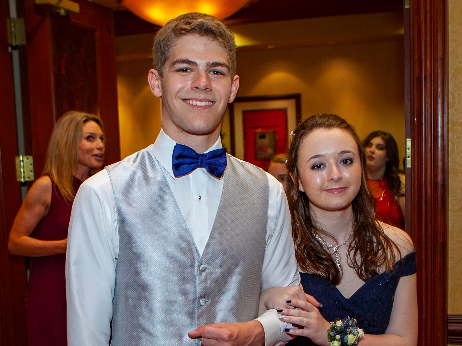 Daniel Wendt and Cami Warren enter the ballroom for the senior walk at Central Magnet School's prom, held Saturday, April 6 at Embassy Suites in Murfreesboro.