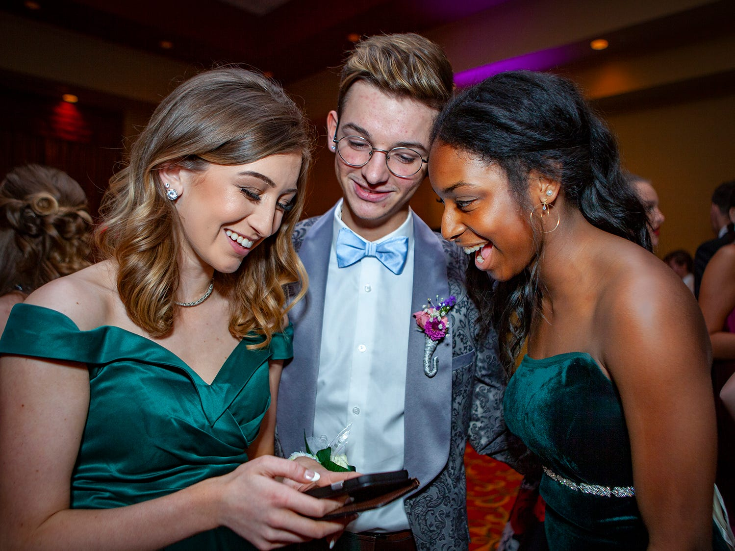 Grace Dummermuth, Landon Parton and Braelyn Clark at Central Magnet School's prom Saturday, April 6, 2019 at Embassy Suites in Murfreesboro.