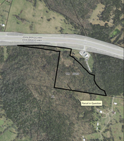 This map shows the proposed 22 acres for a Bullseye Gun, Gear and Pawn business with a potential outdoor shooting range on the south side of John Bragg Highway on the east side of Rutherford County.
