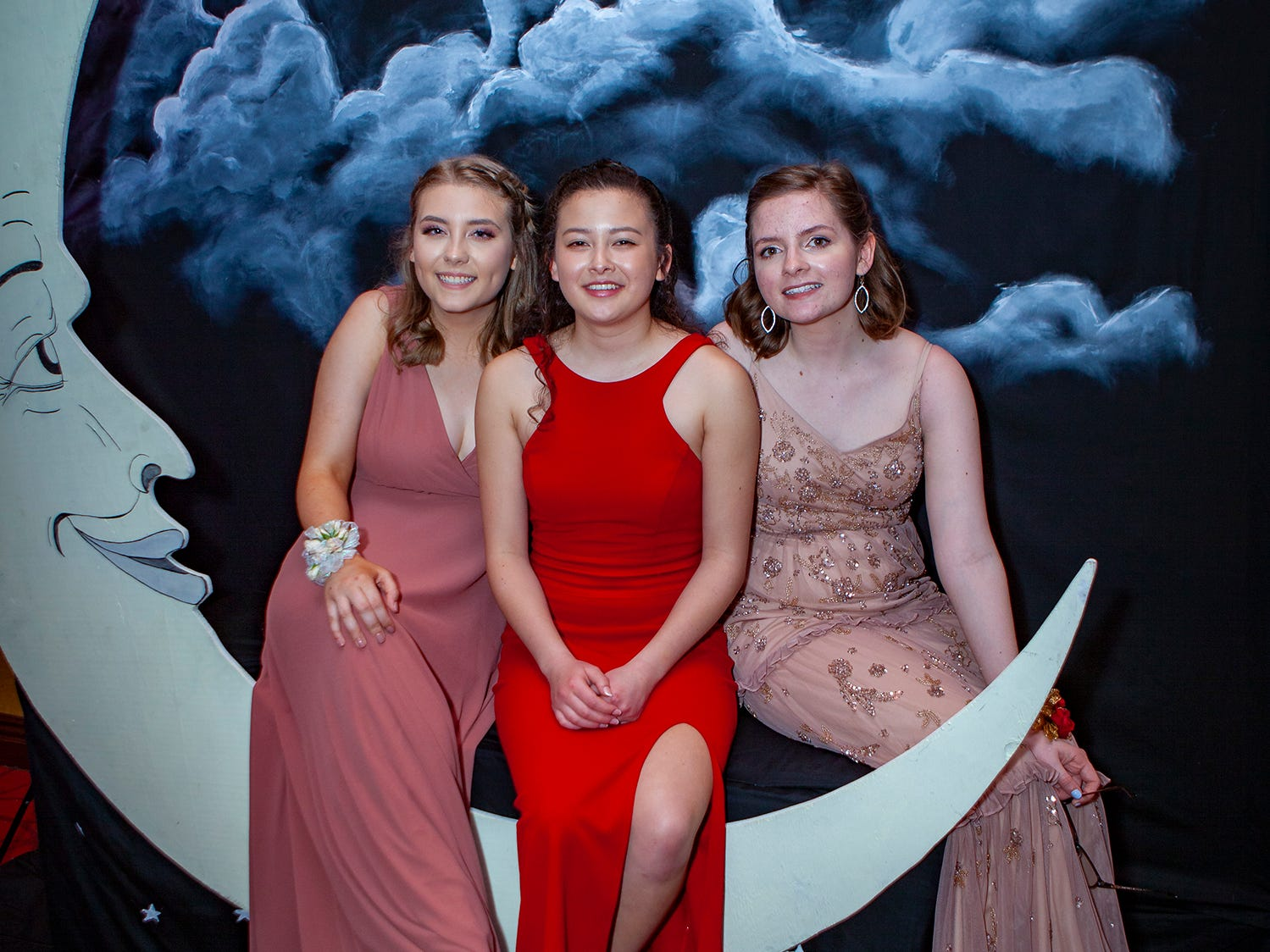 Helen Grace Daniel, Natalie Peruzzi and Bella Goodnight at Central Magnet School's prom Saturday, April 6, 2019 at Embassy Suites in Murfreesboro.