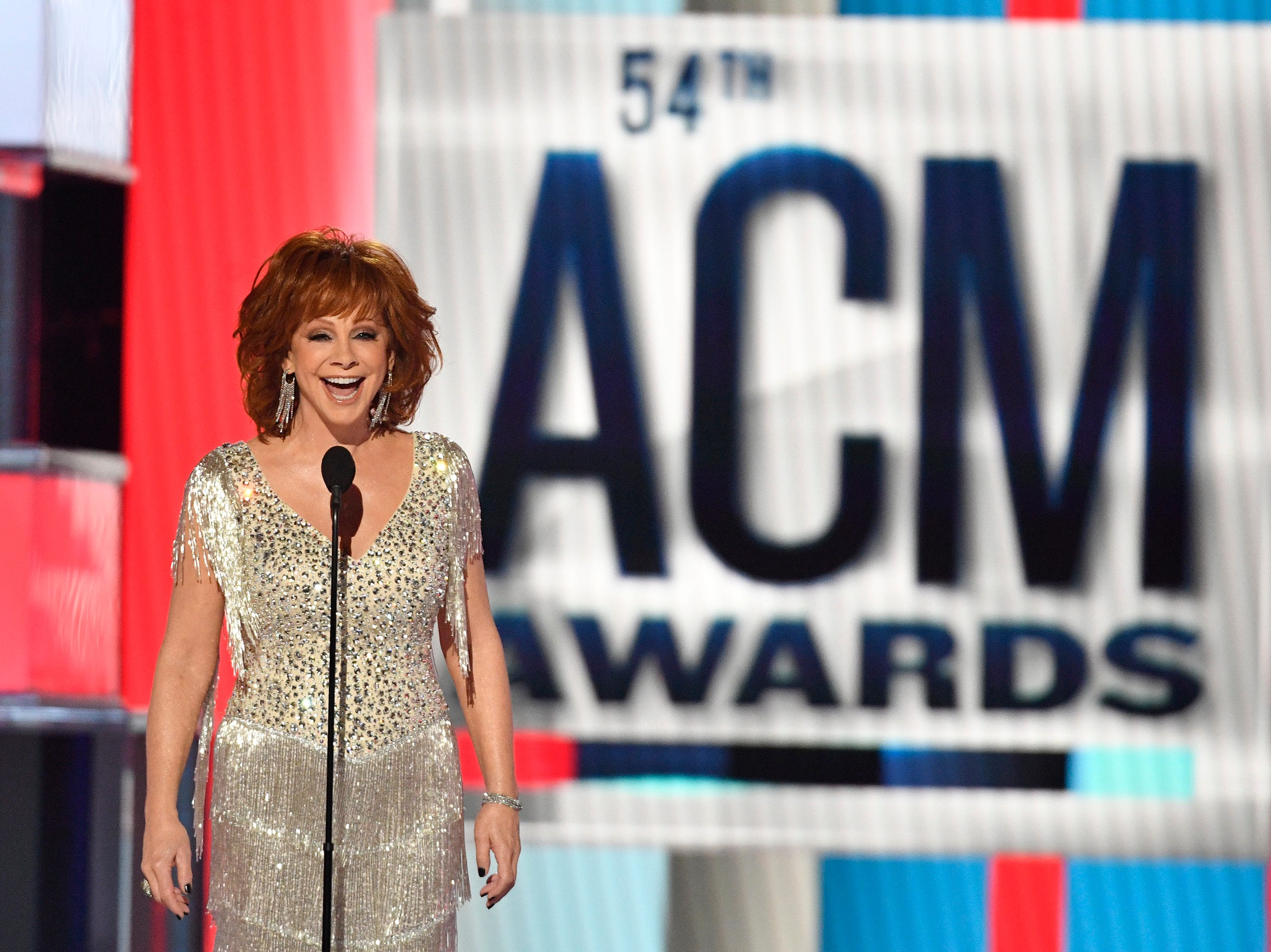 Host Reba McEntire speaks during the 54th Academy of Country Music Awards on Sunday, April 7, 2019, in Las Vegas.