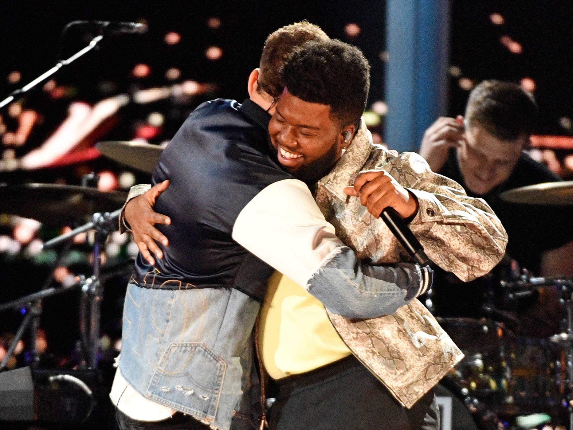 Kane Brown, left, and Khalid, embrace after performing during the 54TH Academy of Country Music Awards Sunday, April 7, 2019, in Las Vegas, Nev.