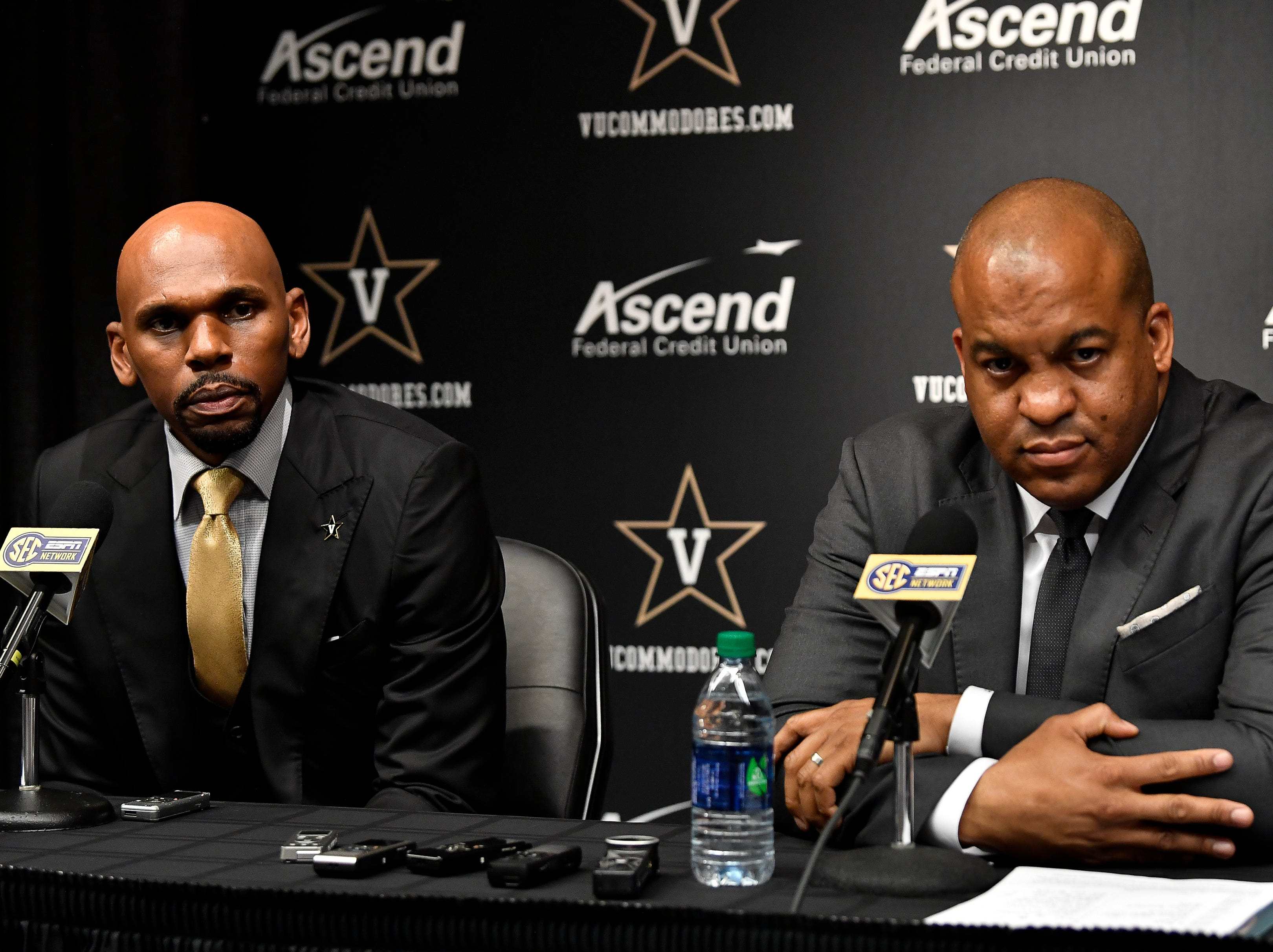 New Vanderbilt basketball coach Jerry Stackhouse and athletic director Malcolm Turner (rt) take questions during a press conference introducing Stackhouse at Memorial Gym Monday, April 8, 2019 in Nashville, Tenn.