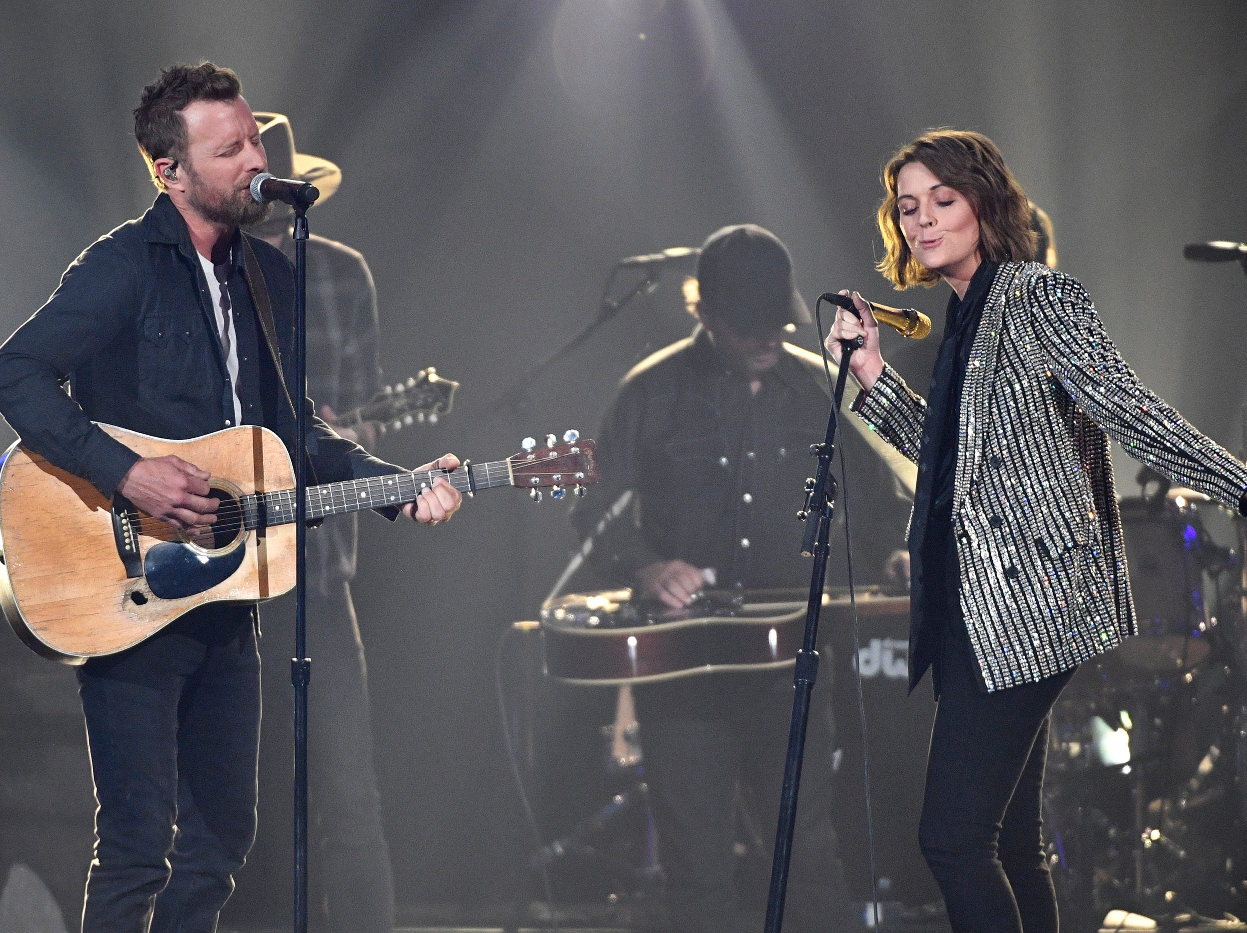 Dierks Bentley, left, and Brandi Carlile, perform during the 54TH Academy of Country Music Awards Sunday, April 7, 2019, in Las Vegas, Nev.