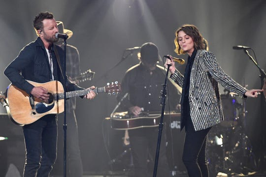 Dierks Bentley and Brandi Carlile perform during the 54th Academy of Country Music Awards on Sunday in Las Vegas.