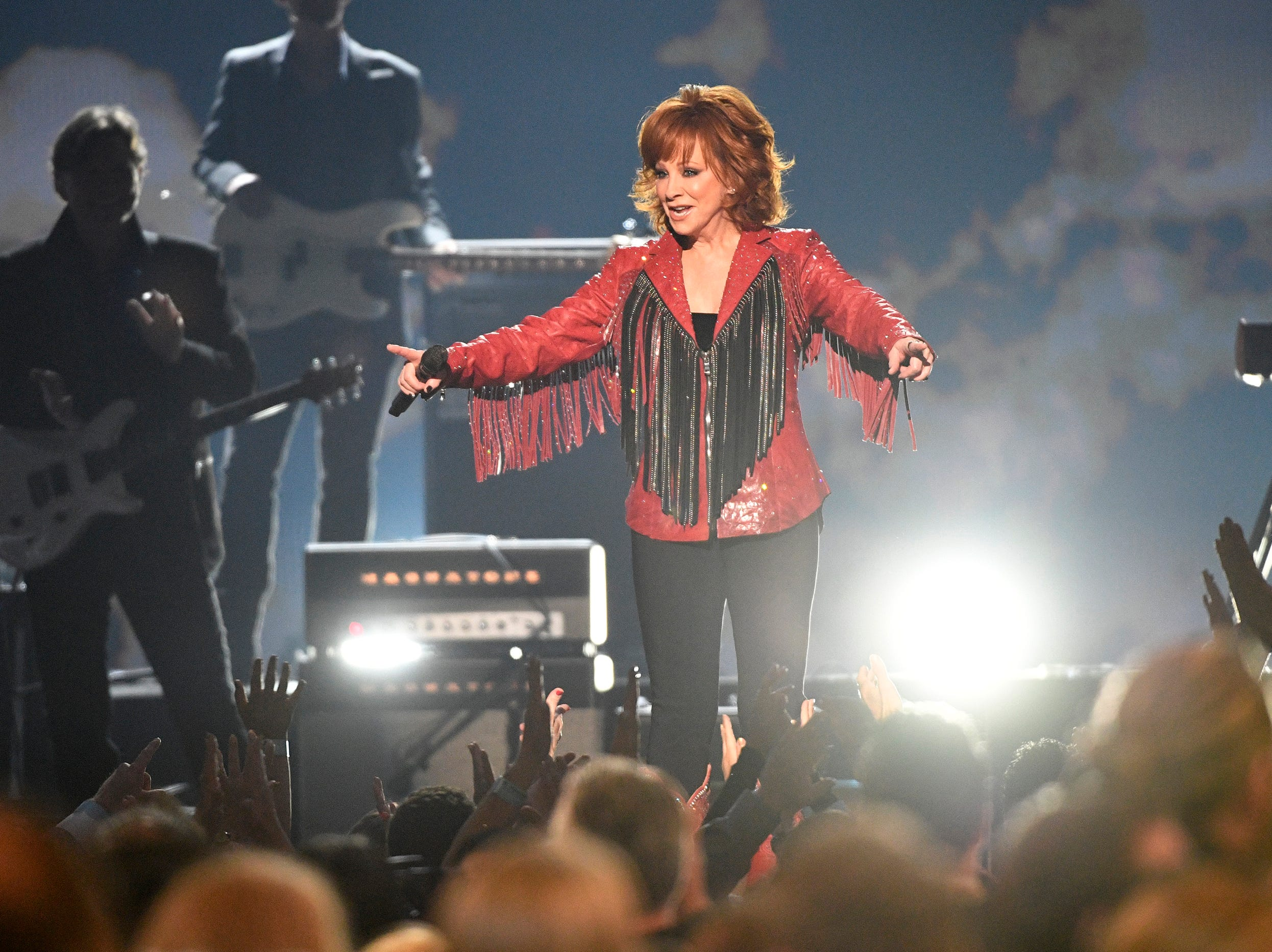 Reba McEntire performs during the 54TH Academy of Country Music Awards Sunday, April 7, 2019, in Las Vegas, Nev.