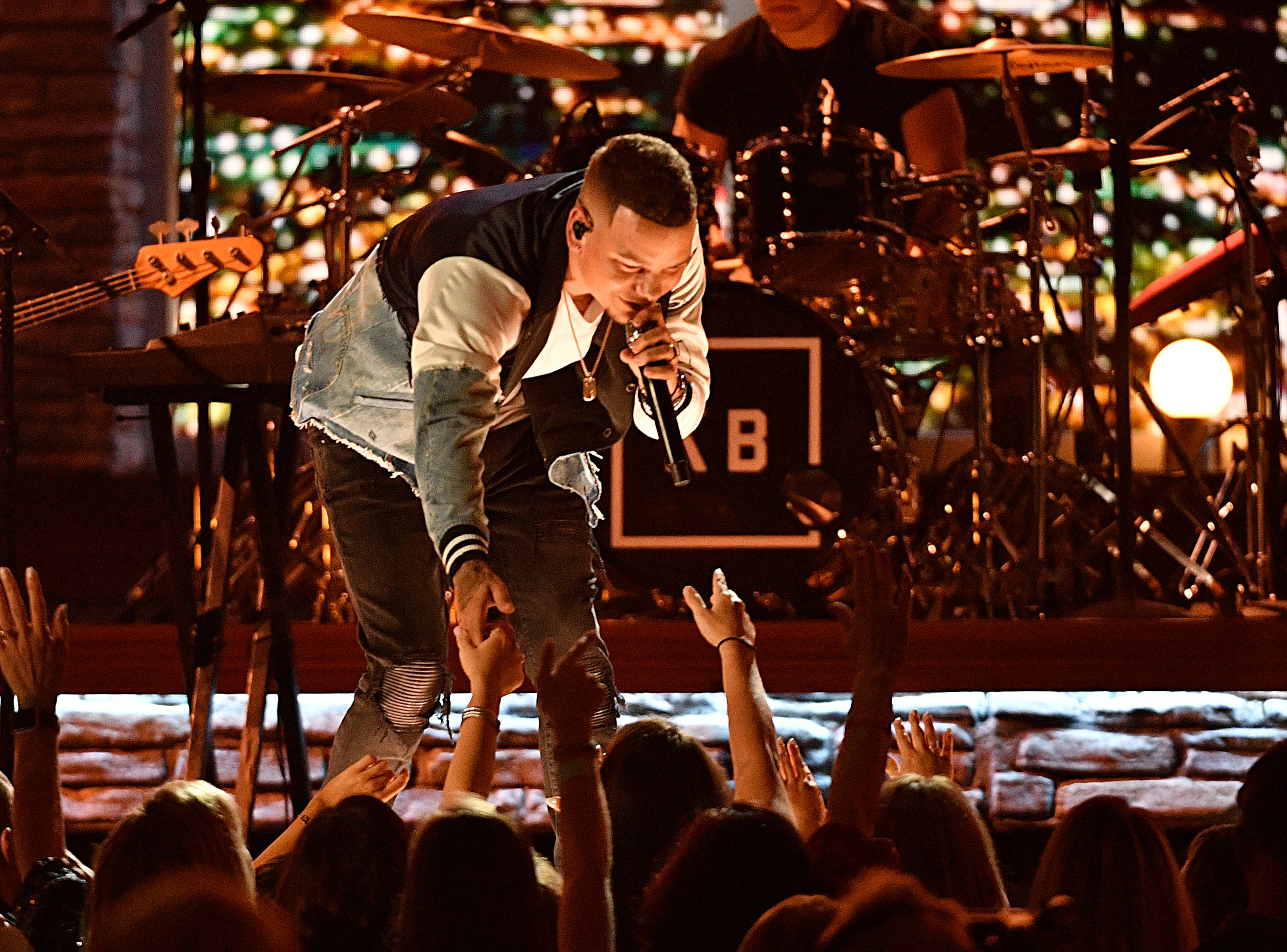 Kane Brown performs during the 54TH Academy of Country Music Awards Sunday, April 7, 2019, in Las Vegas, Nev.
