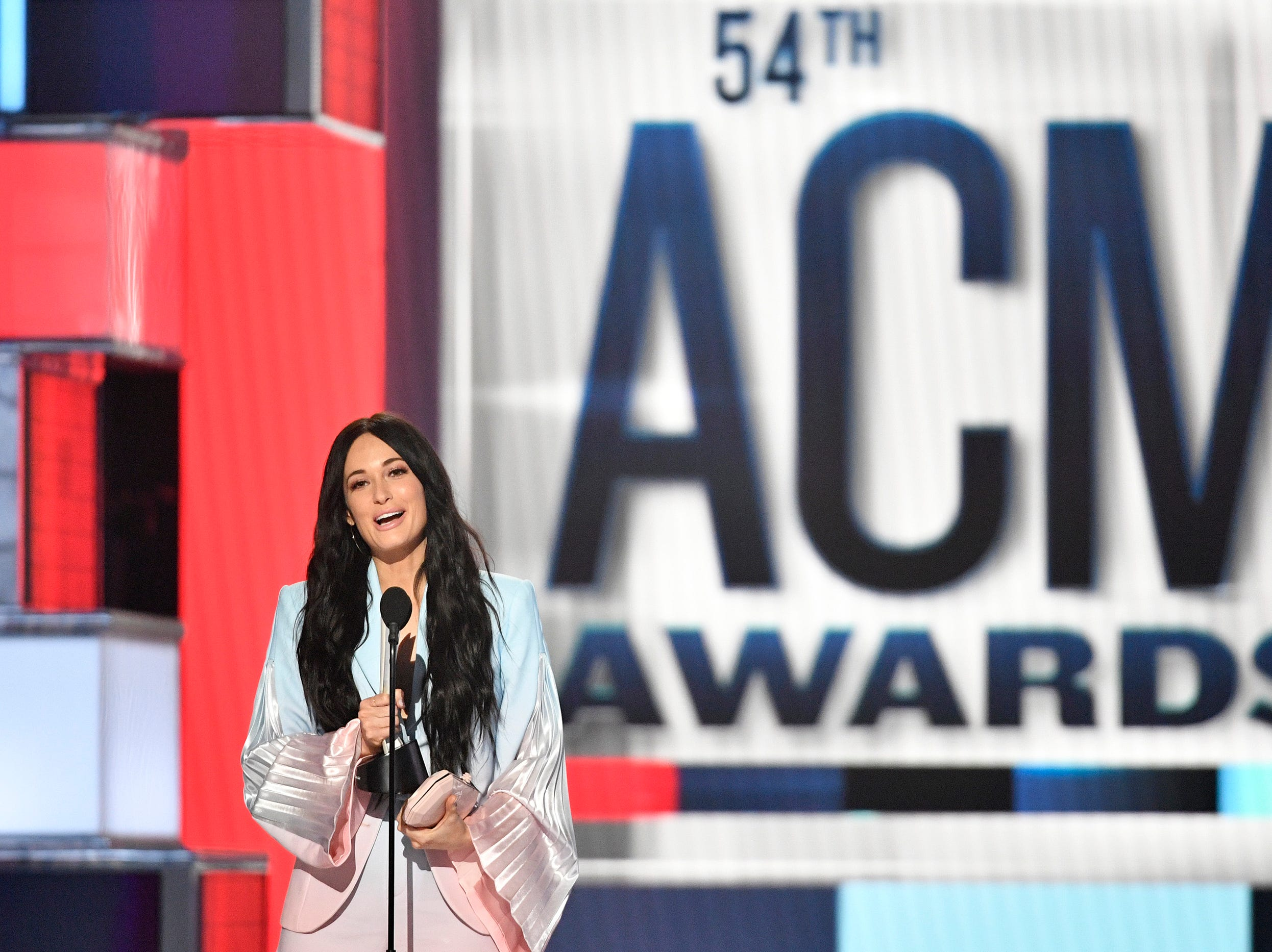 Kacey Musgraves accepts the Female Artist of the Year award during the 54TH Academy of Country Music Awards Sunday, April 7, 2019, in Las Vegas, Nev.