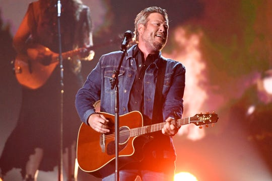 Blake Shelton performs during the 54th Academy of Country Music Awards on April 7, 2019, in Las Vegas.
