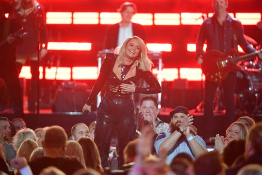 Miranda Lambert performs during the Academy of Country Music Awards on April 7 in Las Vegas. Lambert is nominated in three categories at June's CMT Music Awards.