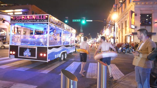 Music City Party Tub, a hot tub on wheels, is downtown Nashville's newest party vehicle.