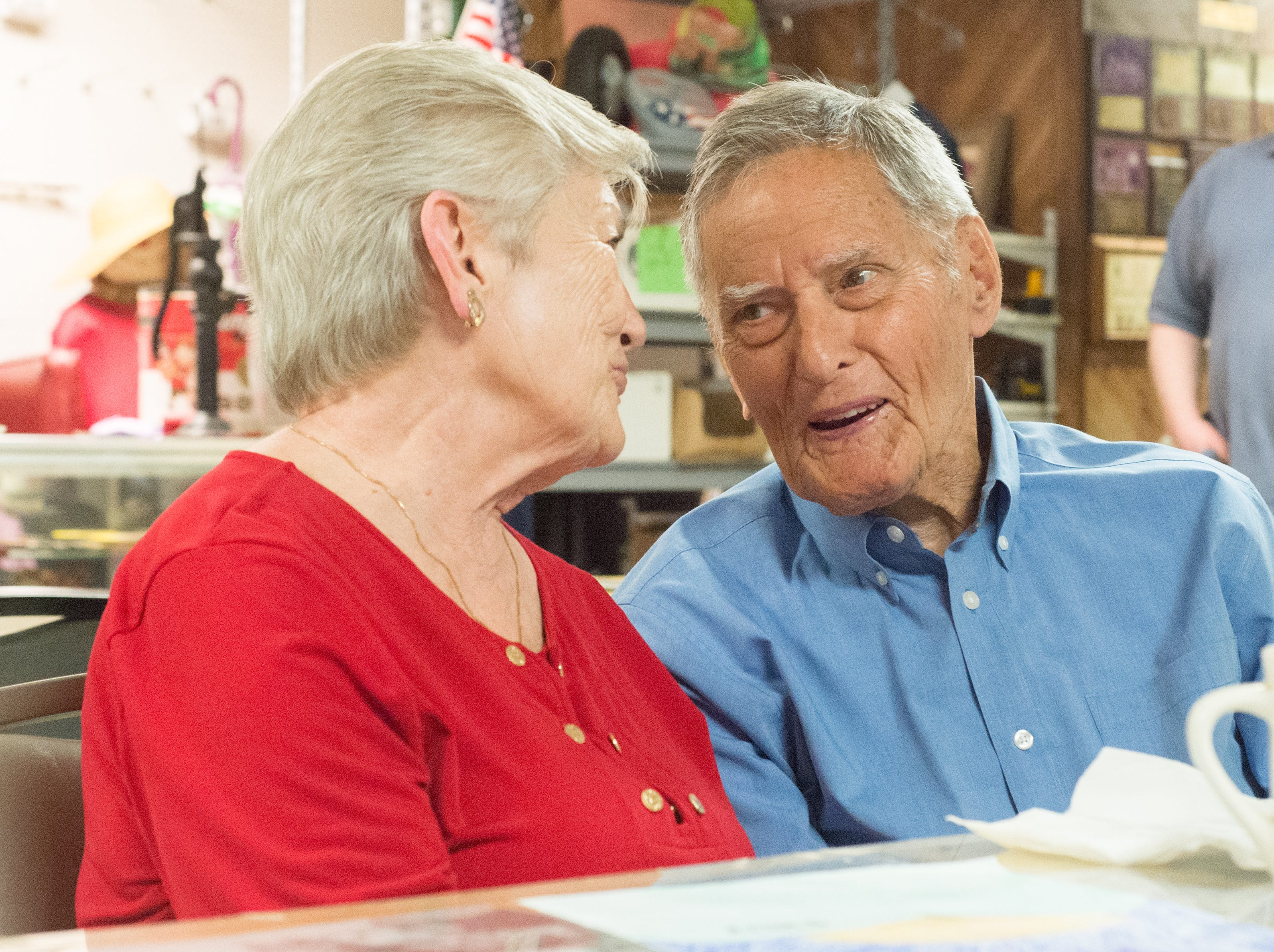 Bobbie Barnes and Willie Martin enjoy a chat at Long Hollow Jamboree in Goodlettsville on Saturday, April 7.