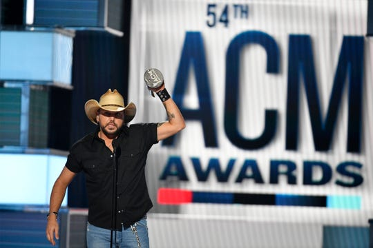 Jason Aldean accepts the Dick Clark Artist of the Decade Award during the 54th Academy of Country Music Awards on Sunday.
