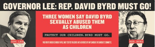 A billboard on I-65 asks Gov. Bill Lee to remove Rep. David Byrd.
