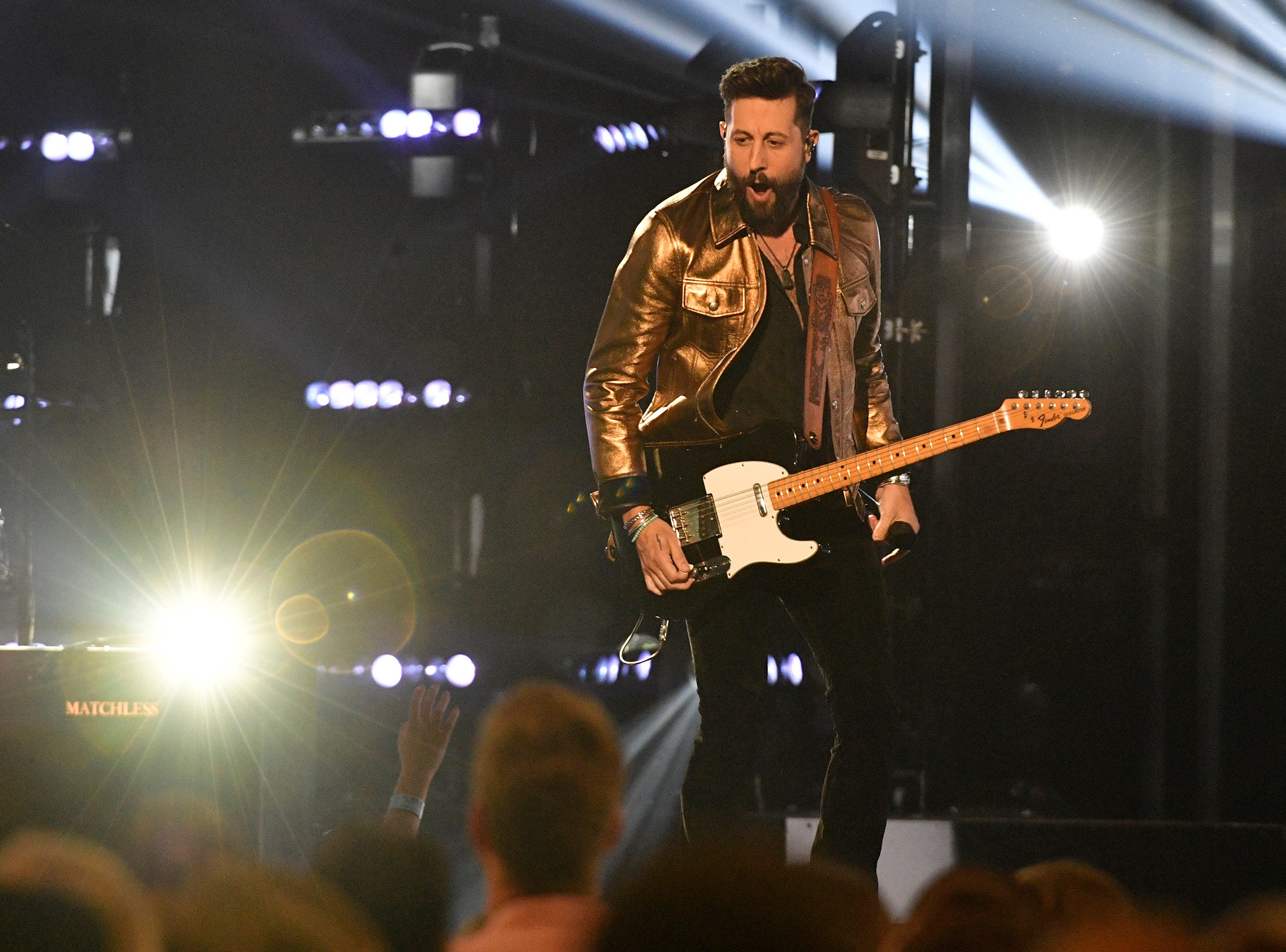 Matthew Ramsey of Old Dominion performs during the 54TH Academy of Country Music Awards Sunday, April 7, 2019, in Las Vegas, Nev.