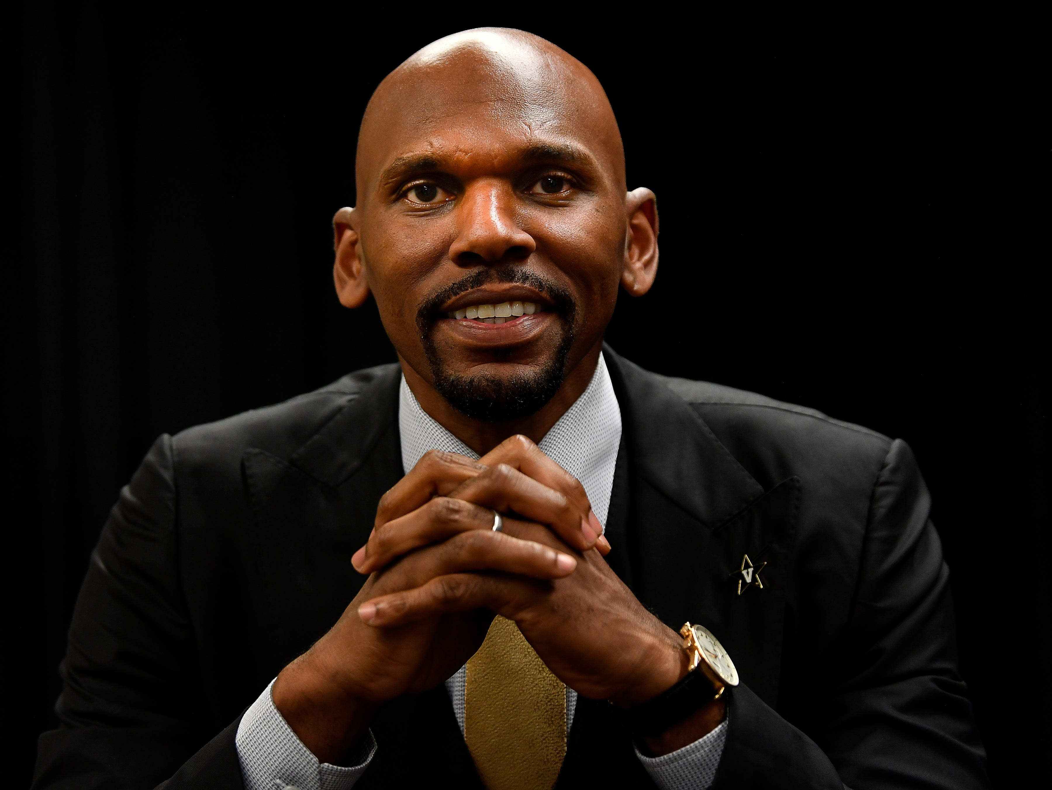 Jerry Stackhouse is introduced as the new Vanderbilt basketball coach at Memorial Gym Monday, April 8, 2019 in Nashville, Tenn.