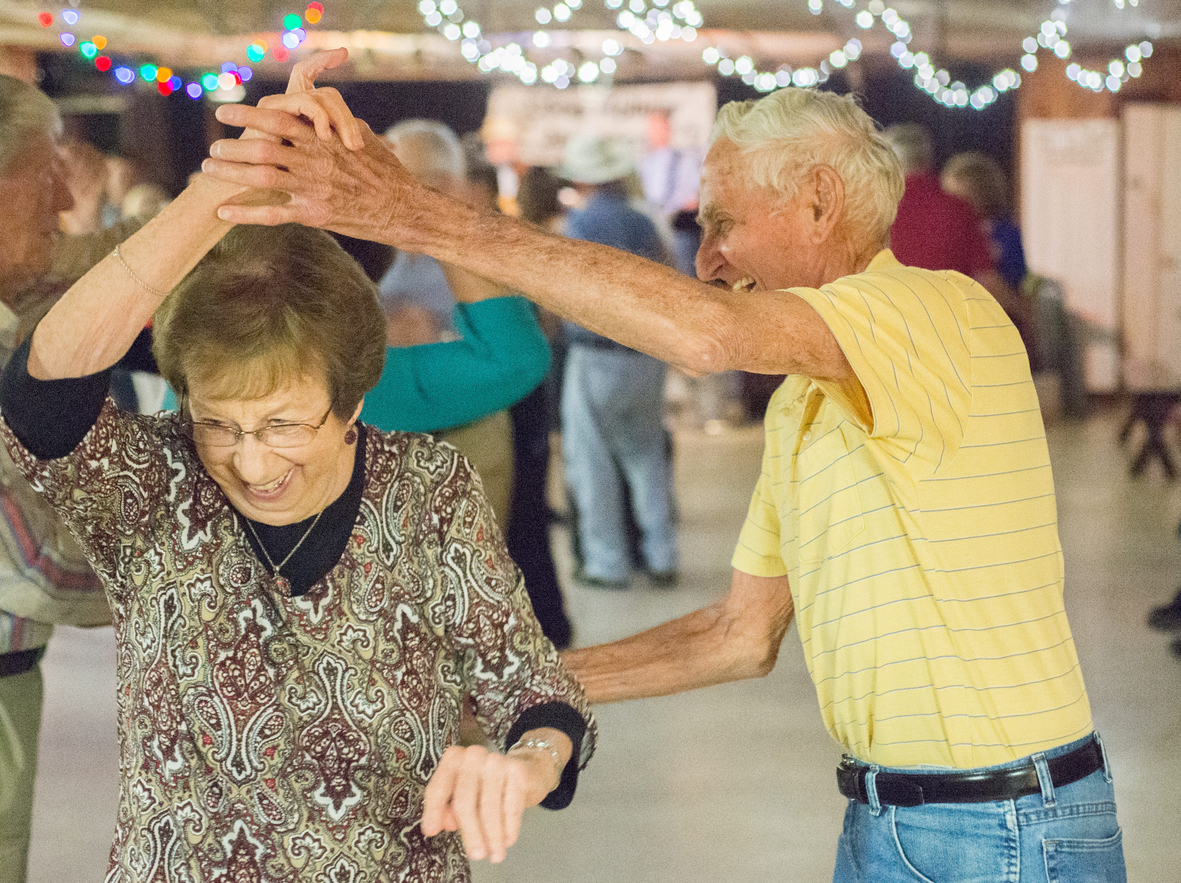 Dot Rist and James Johnson enjoy dancing during a performance of the Blue Creek Band at Long Hollow Jamboree in Goodlettsville on Saturday, April 7.