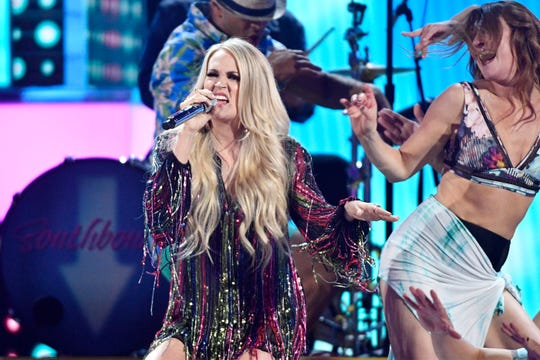 Carrie Underwood performs during the 54TH Academy of Country Music Awards Sunday, April 7, 2019, in Las Vegas, Nev.