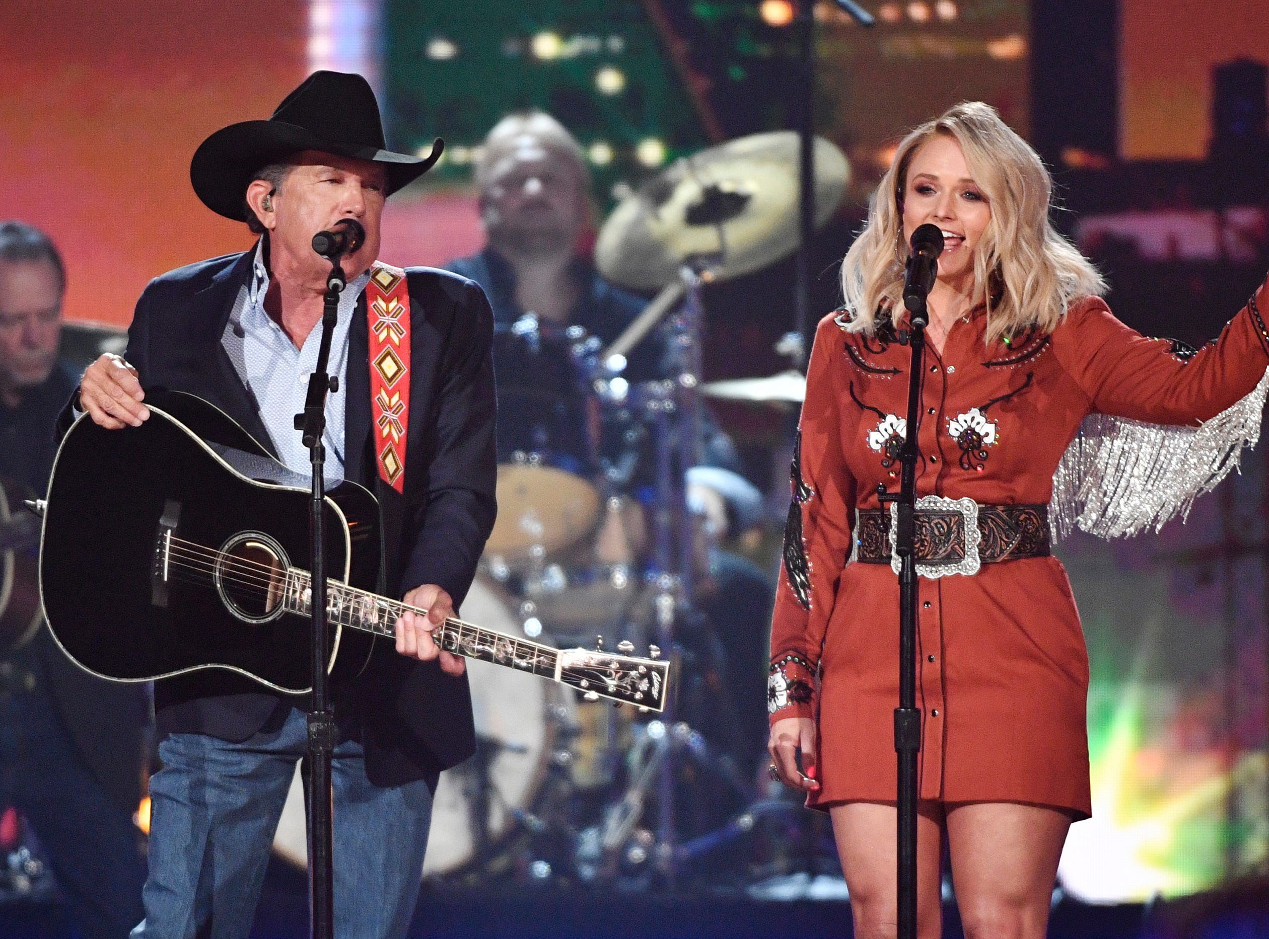 George Strait, left, and Miranda Lambert, perform during the 54TH Academy of Country Music Awards Sunday, April 7, 2019, in Las Vegas, Nev.