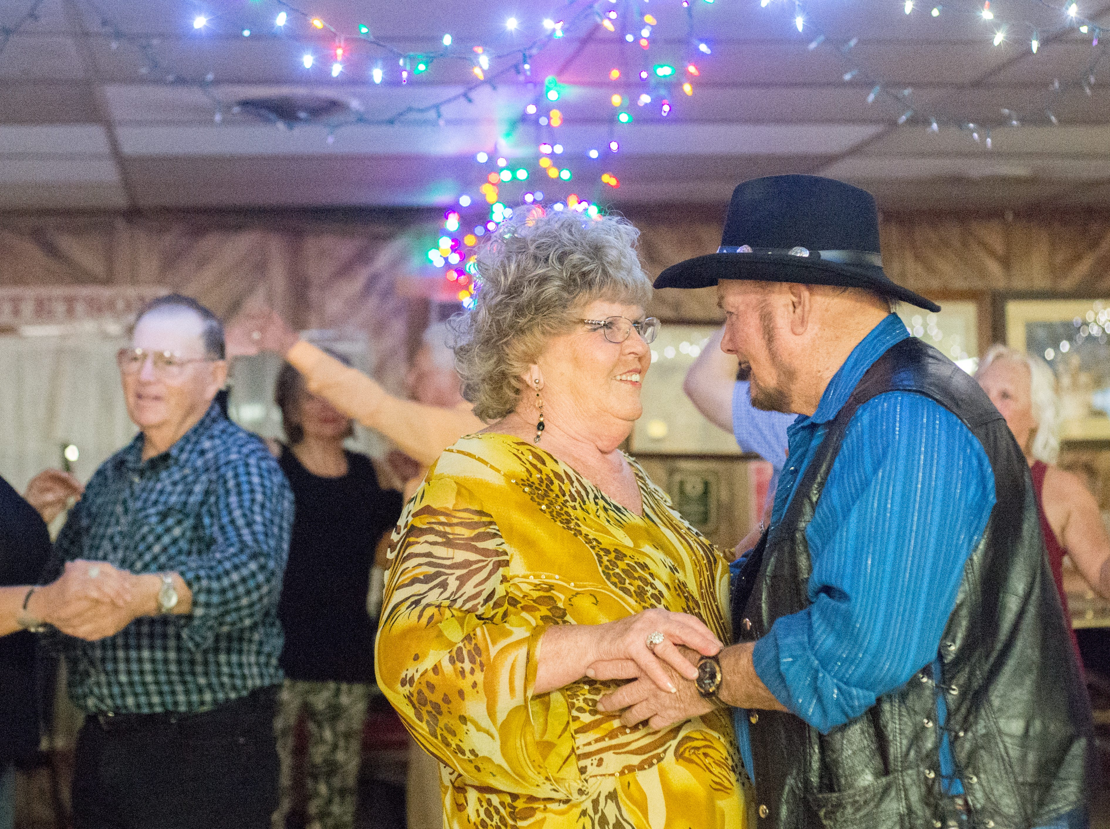 Lois Binkley and Woody Barber enjoy dancing during a performance of the Blue Creek Band at Long Hollow Jamboree in Goodlettsville on Saturday, April 7.