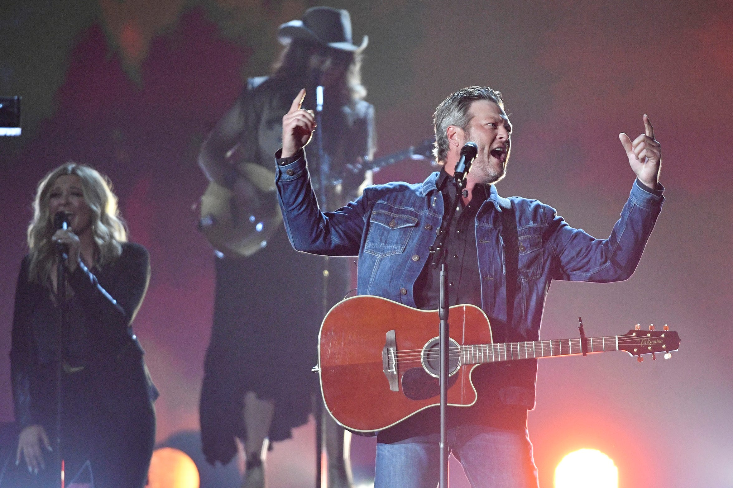 "Blake Shelton performs ""God's Country"" at this year's Academy of Country Music Awards in Las Vegas."