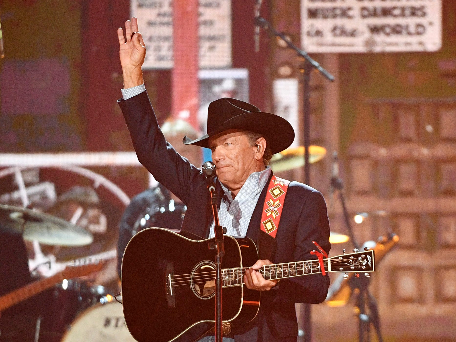 George Strait performs during the 54TH Academy of Country Music Awards Sunday, April 7, 2019, in Las Vegas, Nev.
