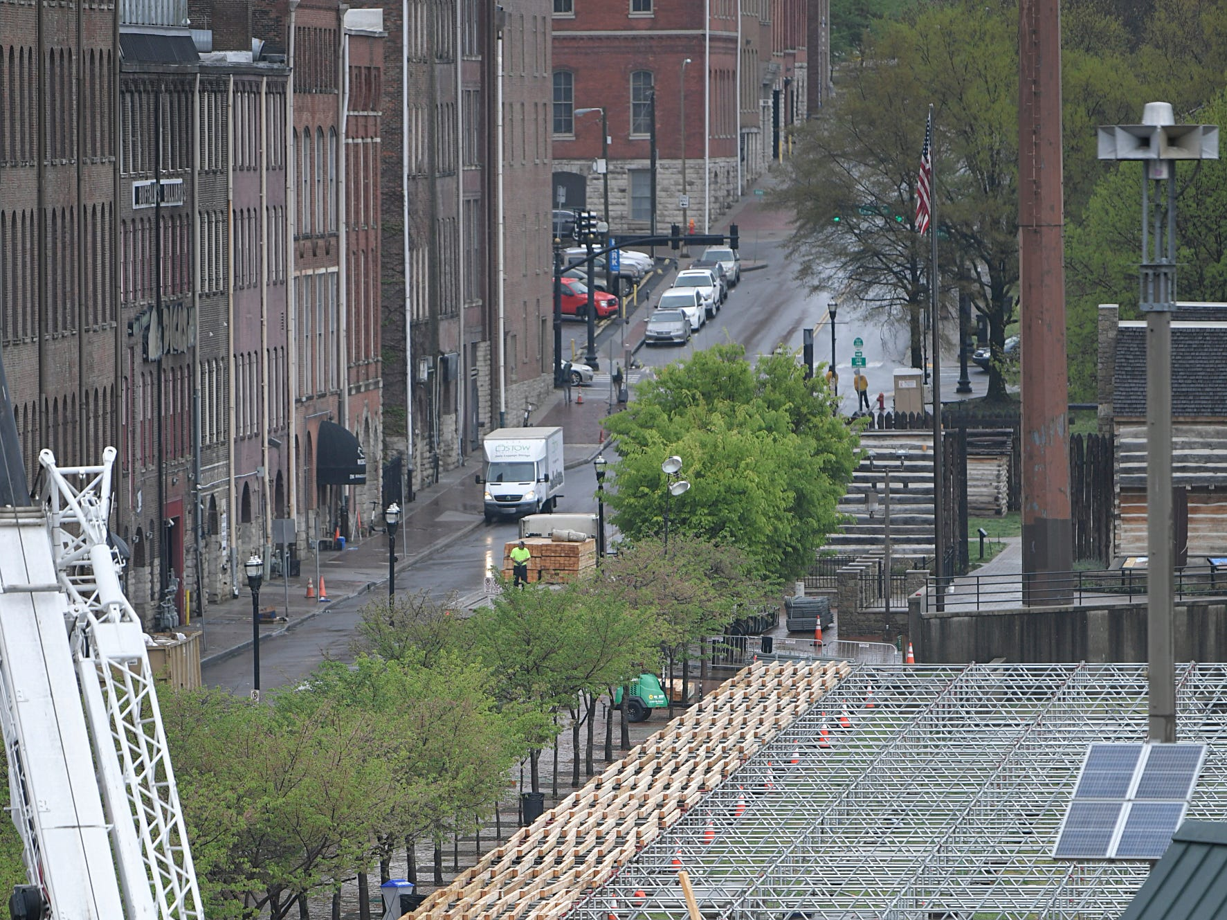 Construction has started on NFL Draft stage on 1st Ave in downtown Nashville on Monday, April 8, 2019.