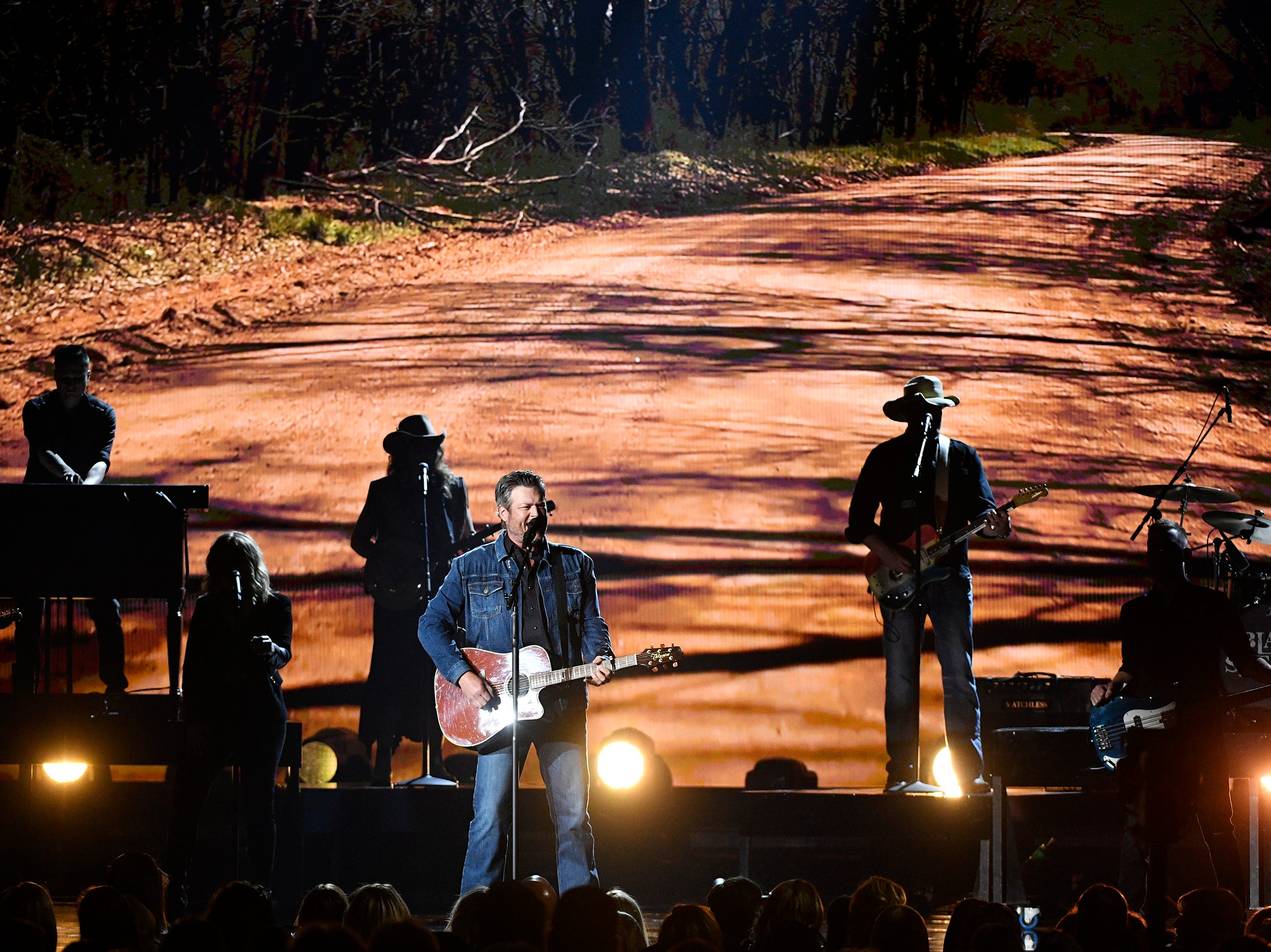 Blake Shelton performs during the 54TH Academy of Country Music Awards Sunday, April 7, 2019, in Las Vegas, Nev.
