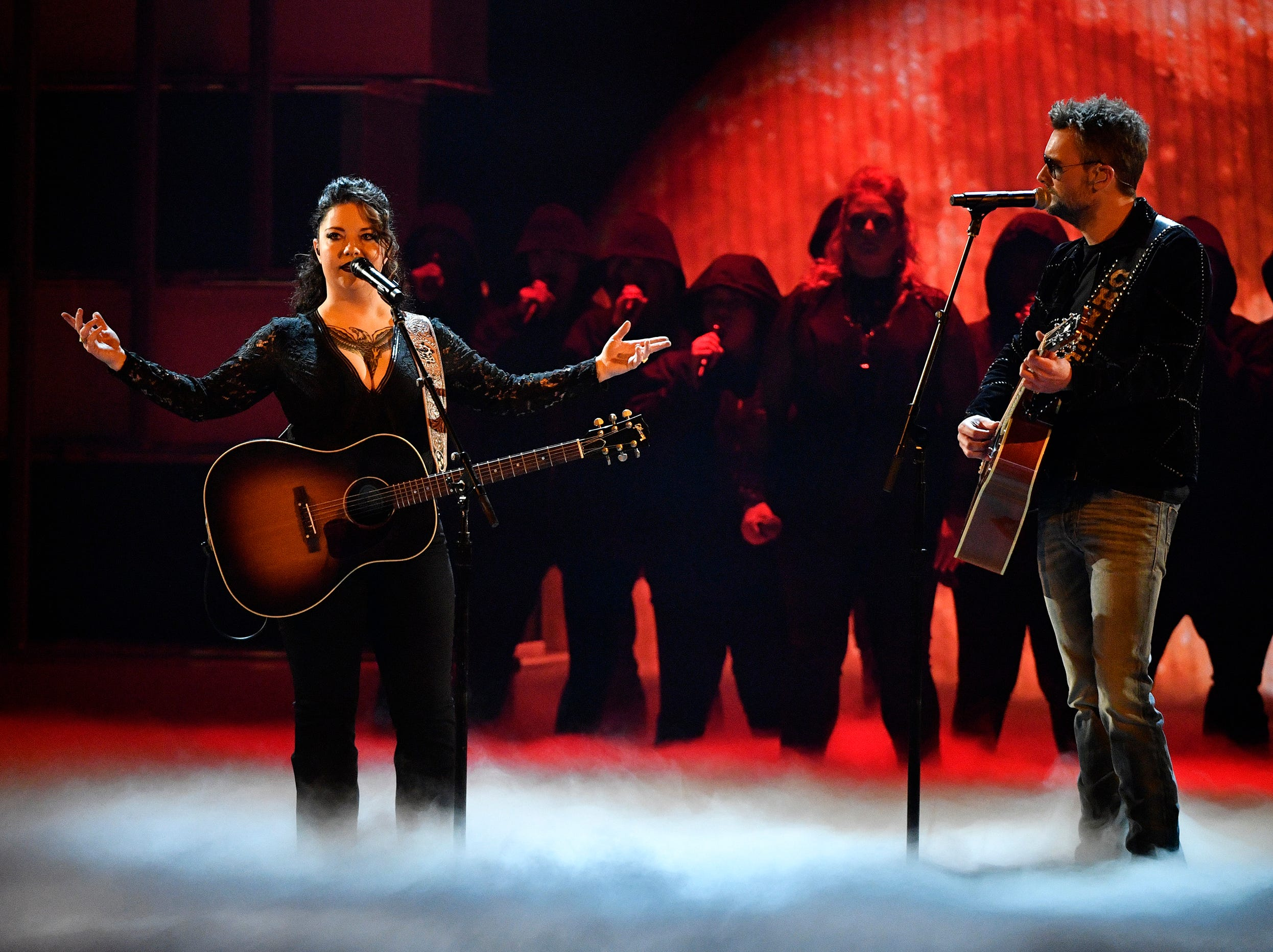 Ashley McBryde, left, and Eric Church, perform during the 54TH Academy of Country Music Awards Sunday, April 7, 2019, in Las Vegas, Nev.