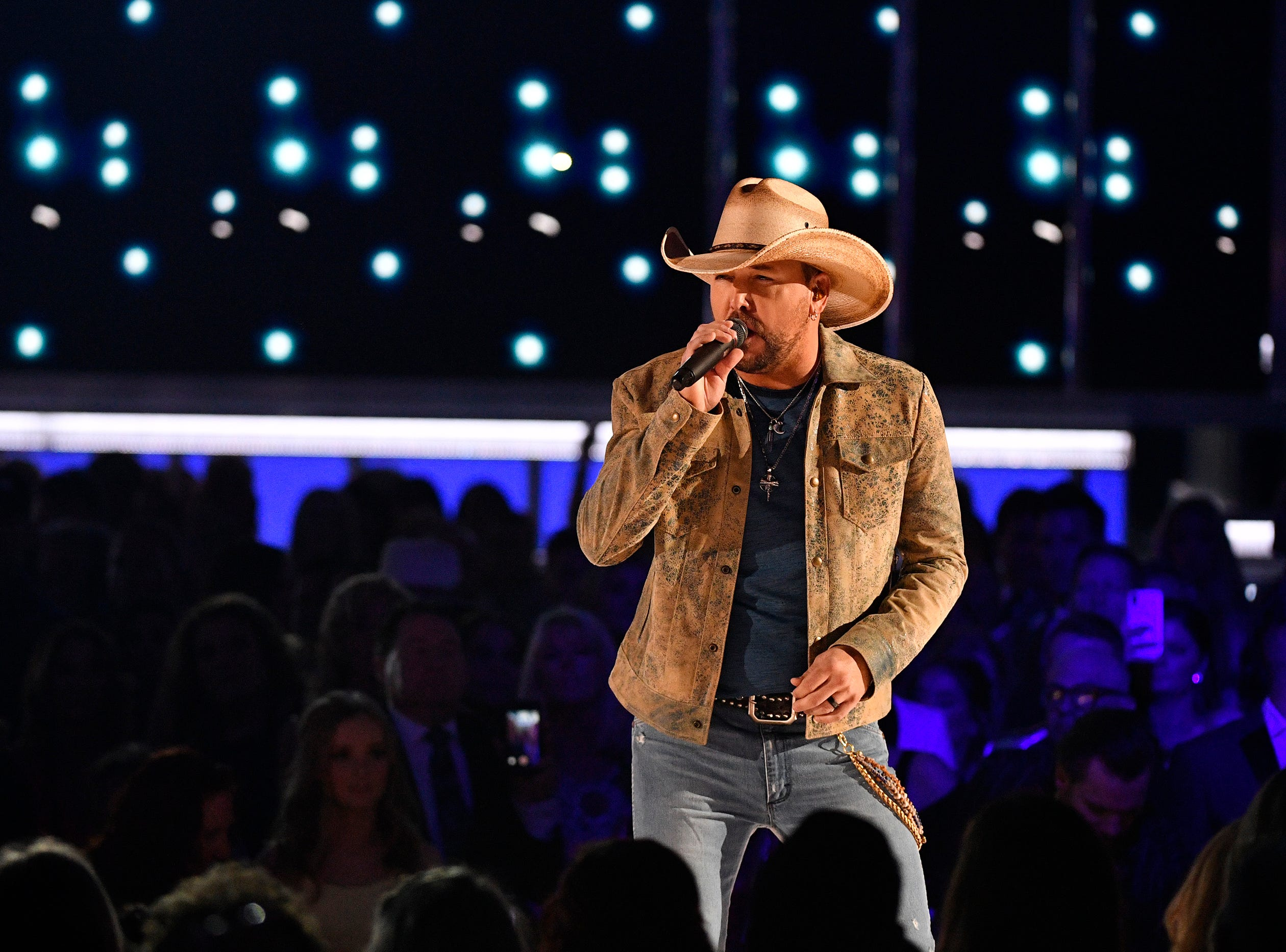 Jason Aldean performs during the 54TH Academy of Country Music Awards Sunday, April 7, 2019, in Las Vegas, Nev.
