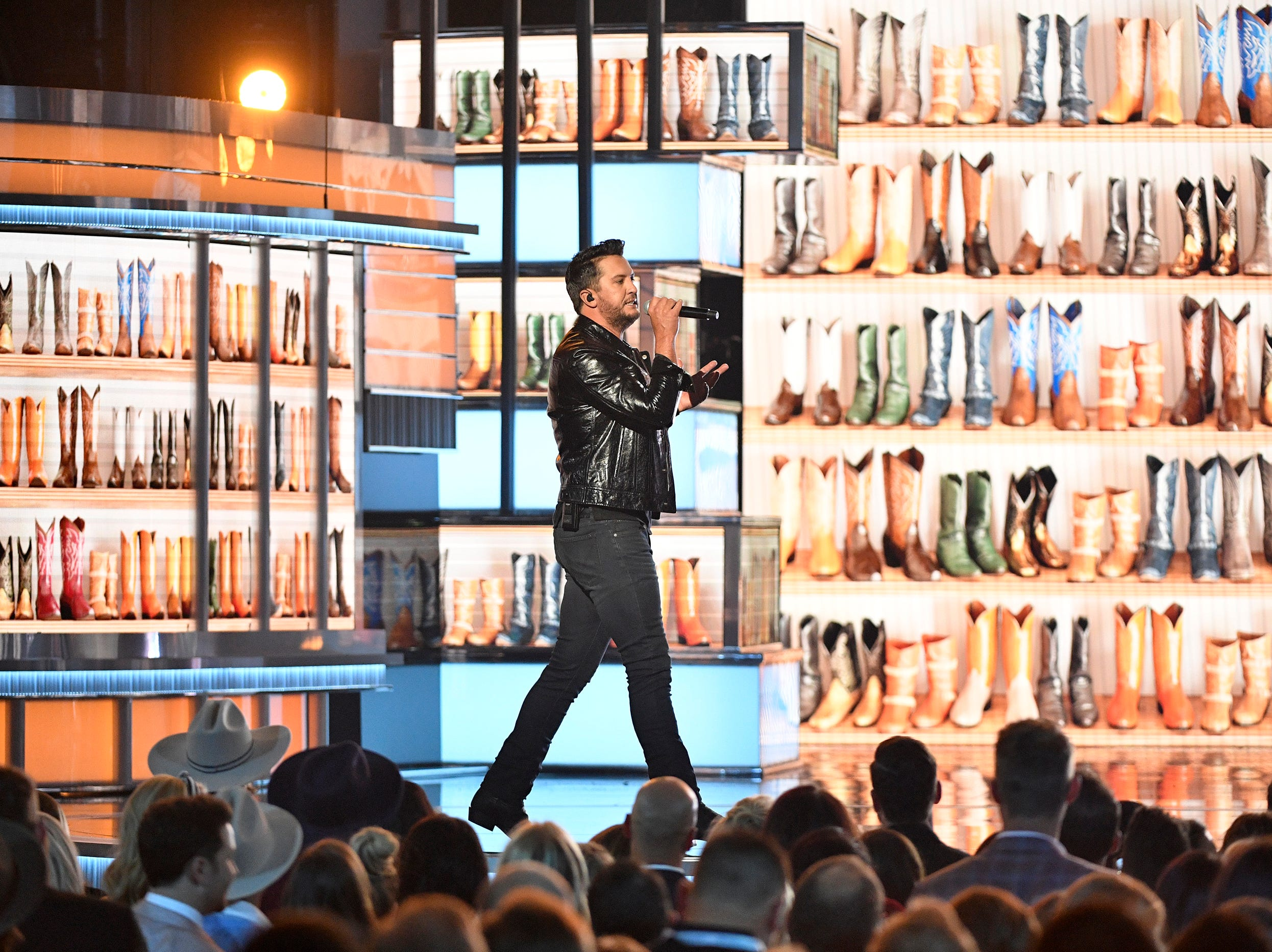 Luke Bryan performs during the 54TH Academy of Country Music Awards Sunday, April 7, 2019, in Las Vegas, Nev.