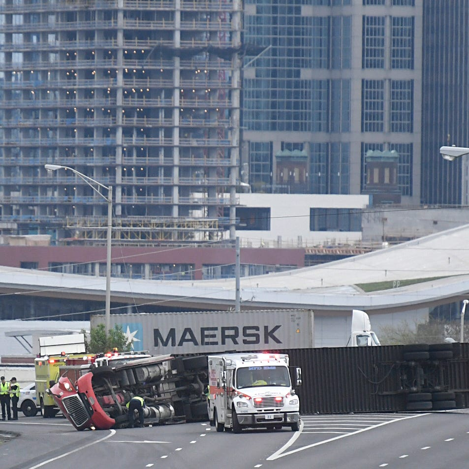 Flipped semi shuts down part of southbound I-65 near downtown Nashville