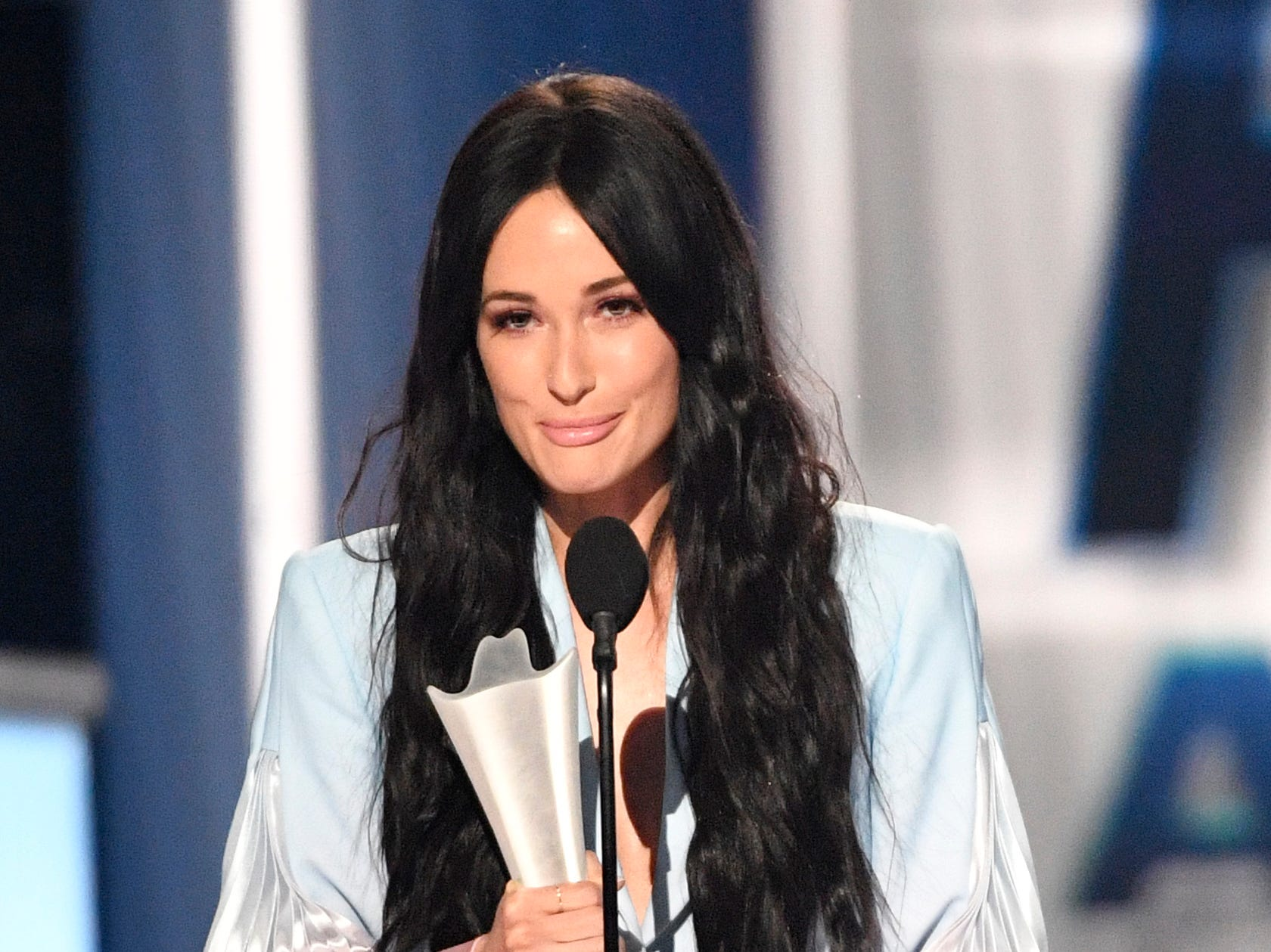 Kacey Musgraves accepts the Album of the Year award during the 54TH Academy of Country Music Awards Sunday, April 7, 2019, in Las Vegas, Nev.