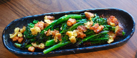 Broccolini with cornbread and hot rock shrimp at The Green Pheasant.
