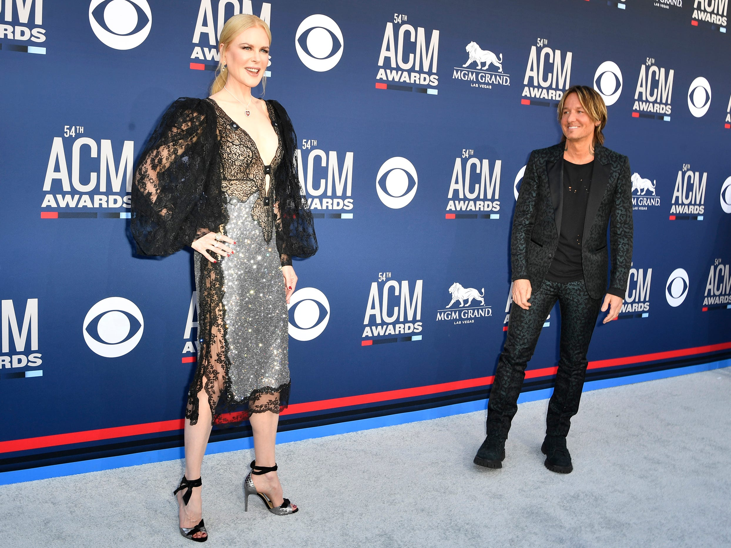 Nicole Kidman, left, with Keith Urban, walk the red carpet at the 54TH Academy of Country Music Awards Sunday, April 7, 2019, in Las Vegas, Nev.