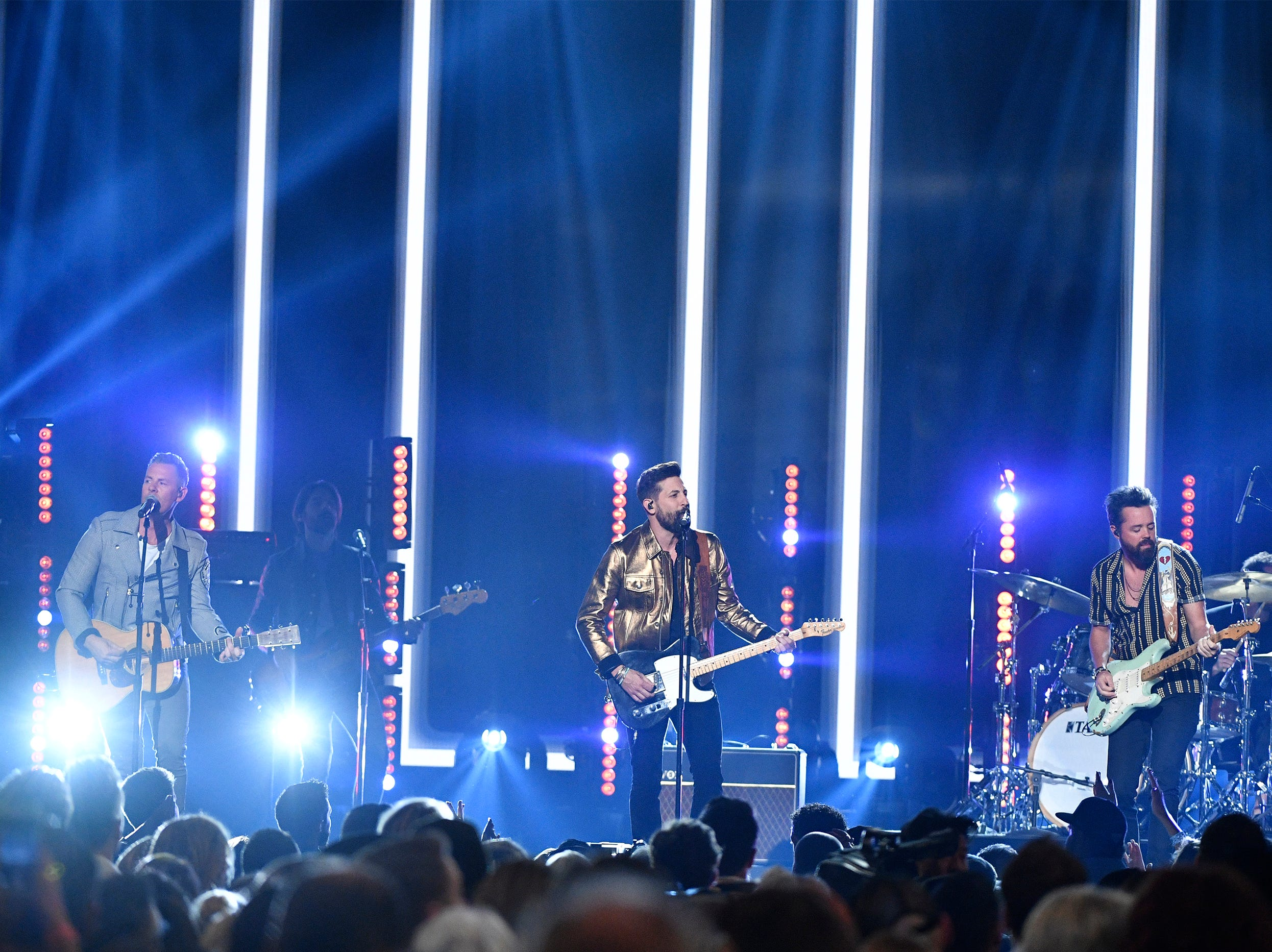 Old Dominion performs during the 54TH Academy of Country Music Awards Sunday, April 7, 2019, in Las Vegas, Nev.