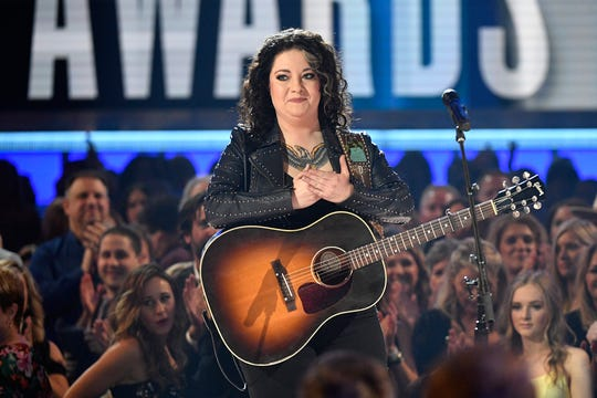 Ashley McBryde performs during the 54TH Academy of Country Music Awards Sunday, April 7, 2019, in Las Vegas, Nev.